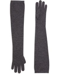 Brunello Cucinelli Stretch-cashmere Lurex Knit Long Gloves - Gray