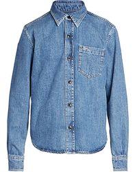 AMI Denim Long-sleeve Shirt - Blue