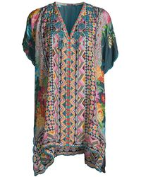 Johnny Was Magdalene Floral & Patchwork Paisley Silk Tunic - Multicolor