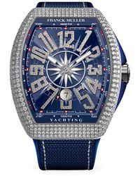 Franck Muller Vanguard Yachting White Gold, Diamond, Alligator & Rubber Strap Watch - Blue