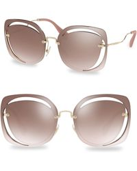 Miu Miu - 64mm Cutout Mirrored Sunglasses - Lyst