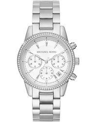 Michael Kors Ritz Studded Stainless Steel Chronograph Bracelet Watch Mk6428 - Metallic
