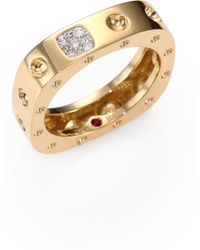 Roberto Coin - Pois Moi Diamond & 18k Yellow Gold Single-row Square Ring - Lyst