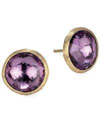 Marco Bicego Jaipur Color 18k Yellow Gold & Amethyst Stud Earrings - Metallic