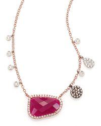 Meira T - Ruby, Diamond & 14K Rose Gold Pendant Necklace - Lyst