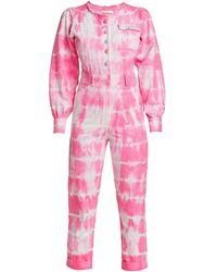 LoveShackFancy Sonoma Stretch Cotton Paca Tie Dye Jumpsuit - Pink
