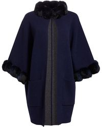 Saks Fifth Avenue Cashmere & Dyed Chinchilla Kimono - Blue