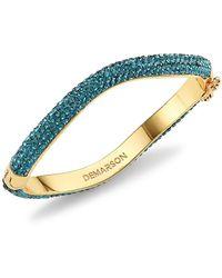 DEMARSON Venus 12k Yellow Gold & Green Swarovski Crystal Pav Bangle Bracelet - Blue