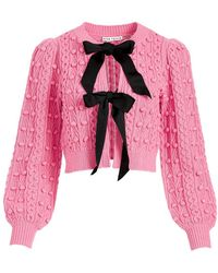 Alice + Olivia Kitty Puff-sleeve Bow Cardigan - Pink