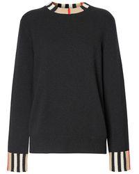 Burberry Eyre Vintage Stripe Cashmere Sweater - Black