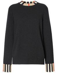 Burberry Icon Stripe Trim Sweater - Black
