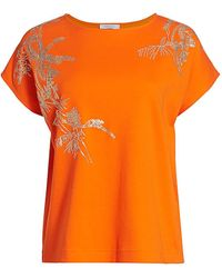 Joan Vass Sequin Embroidered T-shirt - Orange