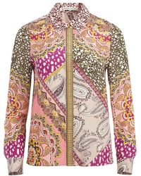 Alice + Olivia Willa Mixed Print Silk Blouse - Multicolor