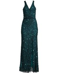 Parker Black Harmony Sequin Beaded Gown - Green