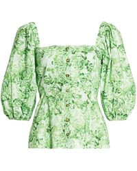 Ganni Puff-sleeve Rose Print Cotton Poplin Blouse - Green