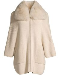 Sofia Cashmere Fox-fur Collar Ottoman Ribbed Cashmere Cardigan - Natural