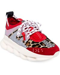 Versace Chain Reaction Chunky Sneakers - Red