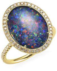 Meira T Diamond, Opal Triplet & 14k Yellow Gold Ring - Metallic