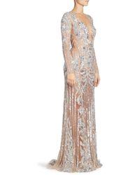 Zuhair Murad Oceania Sequin Sheer Gown - Metallic