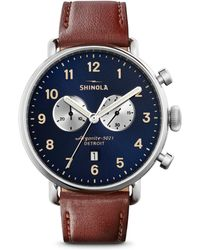 Shinola - Canfield Chronograph Sunray Dial Leather Strap Watch - Lyst