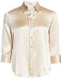 L'Agence Dani Silk Three-quarter Sleeve Blouse - Natural