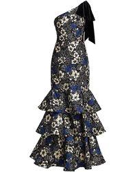 ML Monique Lhuillier One-shoulder Velvet Bow Floral Gown - Blue
