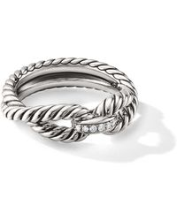 David Yurman - Crossover Sterling Silver & Diamond Cable Loop Ring - Lyst