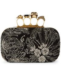Alexander McQueen Skull Four-ring Beaded Leather Box Clutch - Multicolor