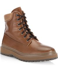 Brunello Cucinelli   Mountain Lace-up Leather Boots   Lyst