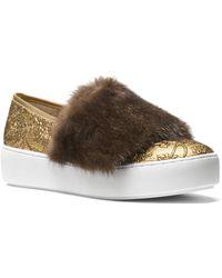 Michael Kors - Lorelai Mink Fur & Metallic Skate Sneakers - Lyst