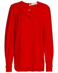 Oscar de la Renta Applique Silk Blend Blouse - Red