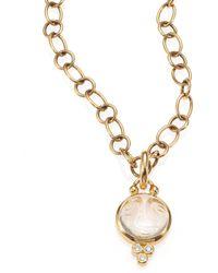 Temple St. Clair - Celestial Rock Crystal, Diamond & 18k Yellow Gold Small Moonface Pendant - Lyst