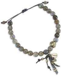 Chan Luu - Labradorite Leather Tassel Bracelet - Lyst