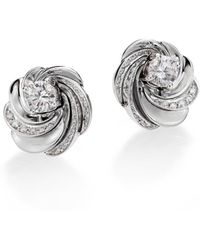 De Beers - Aria Diamond & 18k White Gold Signature Stud Earrings - Lyst