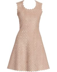 Alaïa Moonlight Sleeveless Short Jacquard A-line Dress - Natural