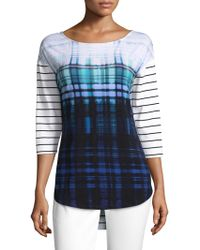 St. John - Ombre Plaid Check And Stripe Top - Lyst