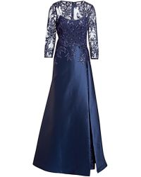 Teri Jon - High-neck 3/4-sleeve Gazar Gown With Sequin Embellished Bodice - Lyst