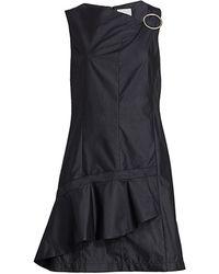 3.1 Phillip Lim Asymmetrical Ruffe Mini Dress - Black