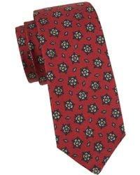 Kiton Geo Medallion Silk Tie - Red