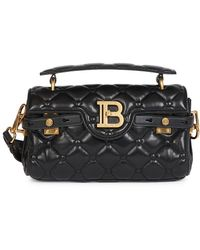 Balmain B-buzz Quilted Leather Baguette - Black