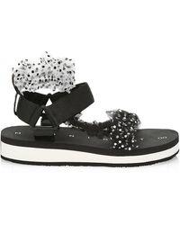 MIDNIGHT 00 Ruched Polka Dot Sport Sandals - Black