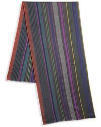 Paul Smith Superstripe Silk & Wool Scarf - Gray