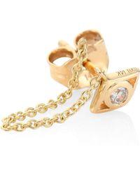 Sydney Evan - Small Open Evil Eye Diamond & 14k Yellow Gold Single Draped Stud Earring - Lyst