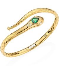 Temple St. Clair - Serpent Bella Diamond, Tsavorite & 18k Yellow Gold Bangle - Lyst