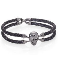 Stinghd - Blackened Silver & Stingray Skull Wrap Bracelet - Lyst