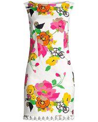 Trina Turk Floral Pom-pom Fringe Shift Dress - Multicolor