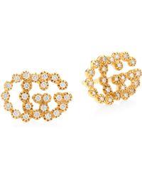 Gucci - Running G Diamond 18k Gold Stud Earrings - Lyst