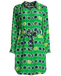 Trina Turk Redondo Print Silk Shirtdress - Green