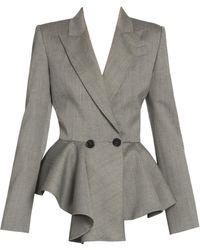 Alexander McQueen Sharkskin Wool Peplum Blazer - Gray