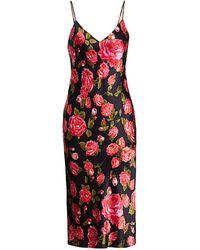 L'Agence Jodie Floral Silk Slip Dress - Red